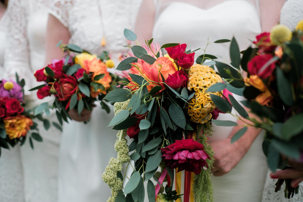 Bride Bridal Bouquet Flowers Colourful Red Orange Yellow Glenarm Castle Wedding Jonathan Ryder Photography