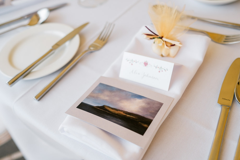 Place Name Card Setting Glenarm Castle Wedding Jonathan Ryder Photography