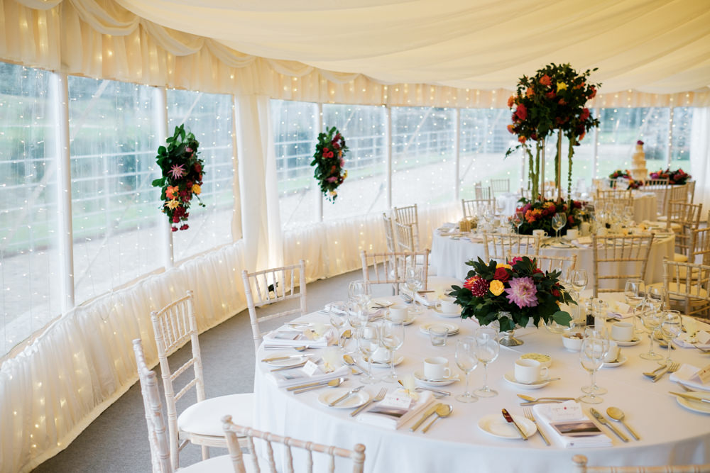 Centrepiece Flowers Colourful Decor Glenarm Castle Wedding Jonathan Ryder Photography