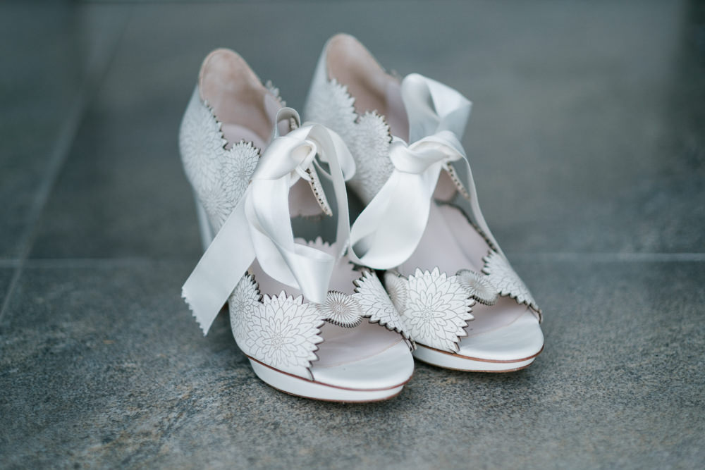 Bride Bridal Shoes Ribbon Glenarm Castle Wedding Jonathan Ryder Photography