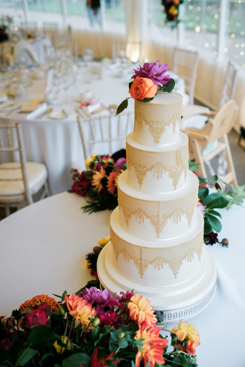 Gold Cake Tall Flowers Glenarm Castle Wedding Jonathan Ryder Photography