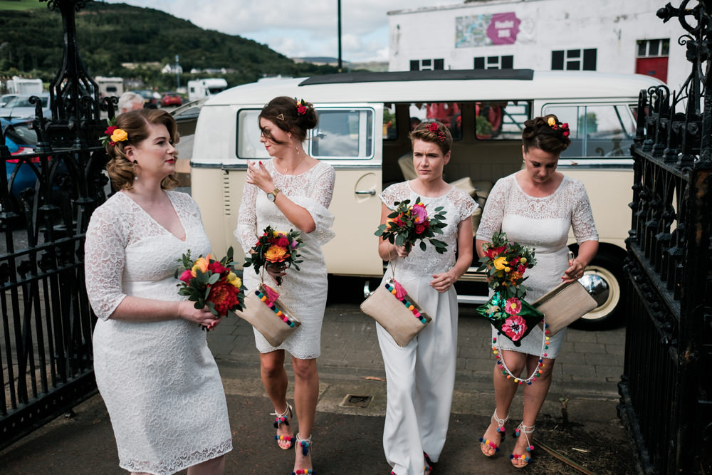 Bridesmaids Bridesmaid Dress Dresses White Mismatched Glenarm Castle Wedding Jonathan Ryder Photography