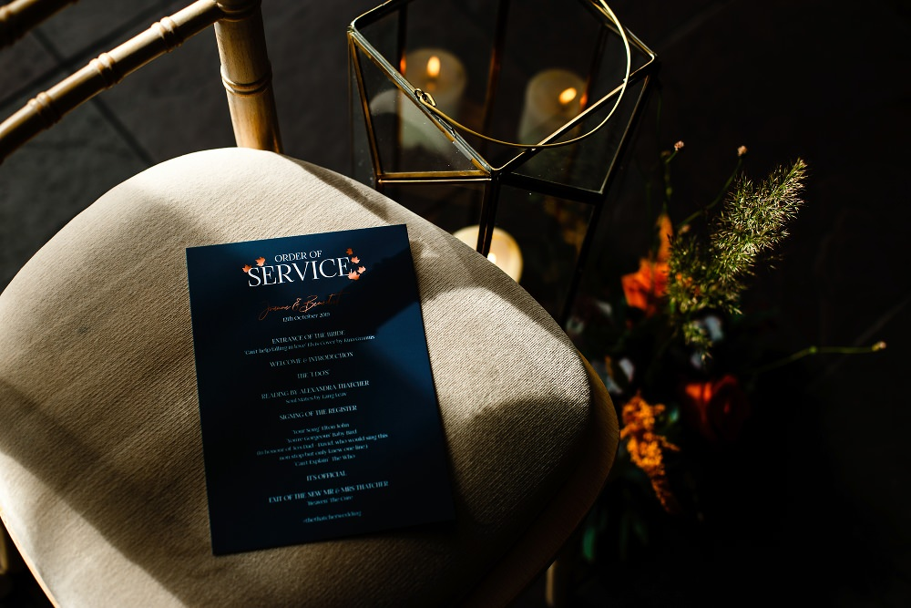 Order of Service Great John Street Hotel Wedding About Today Photography