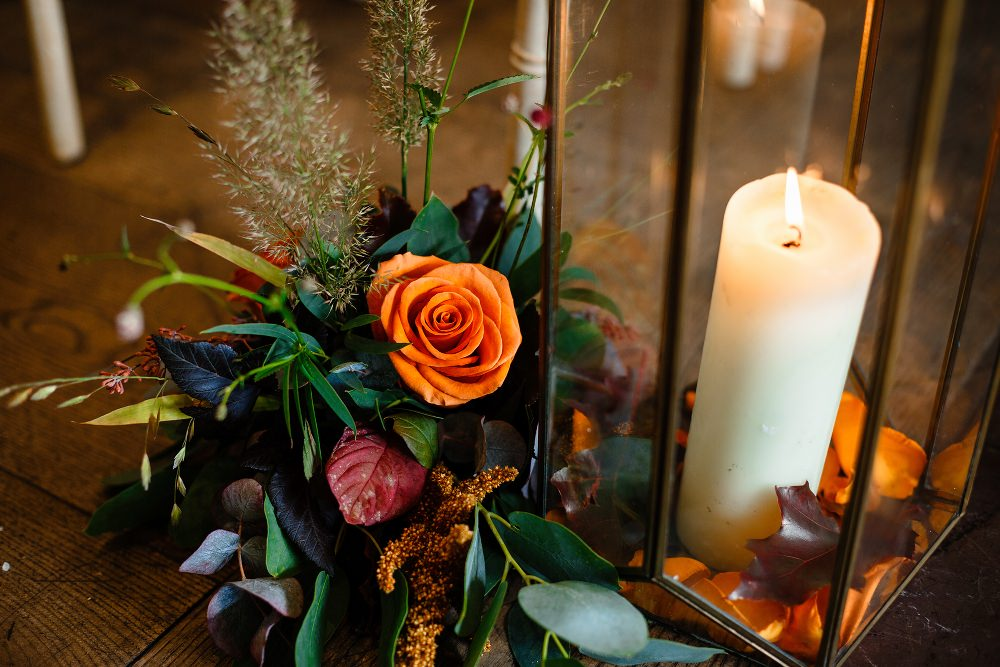 Hurricane Lantern Candle Flowers Pew End Aisle Decor Great John Street Hotel Wedding About Today Photography