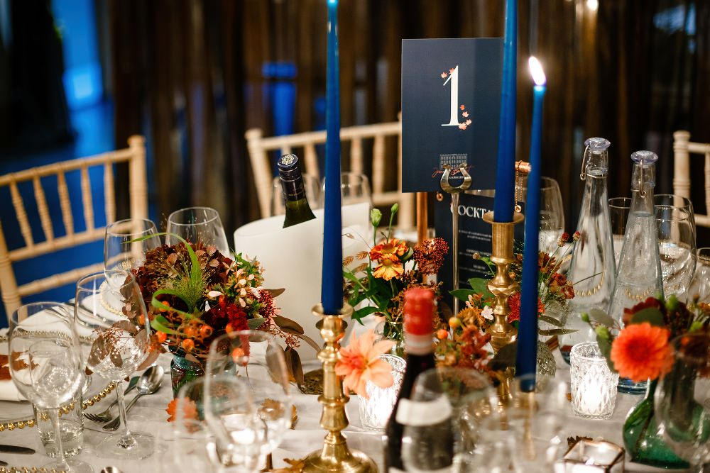 Table Centrepiece Orange Blue Candles Flowers Great John Street Hotel Wedding About Today Photography