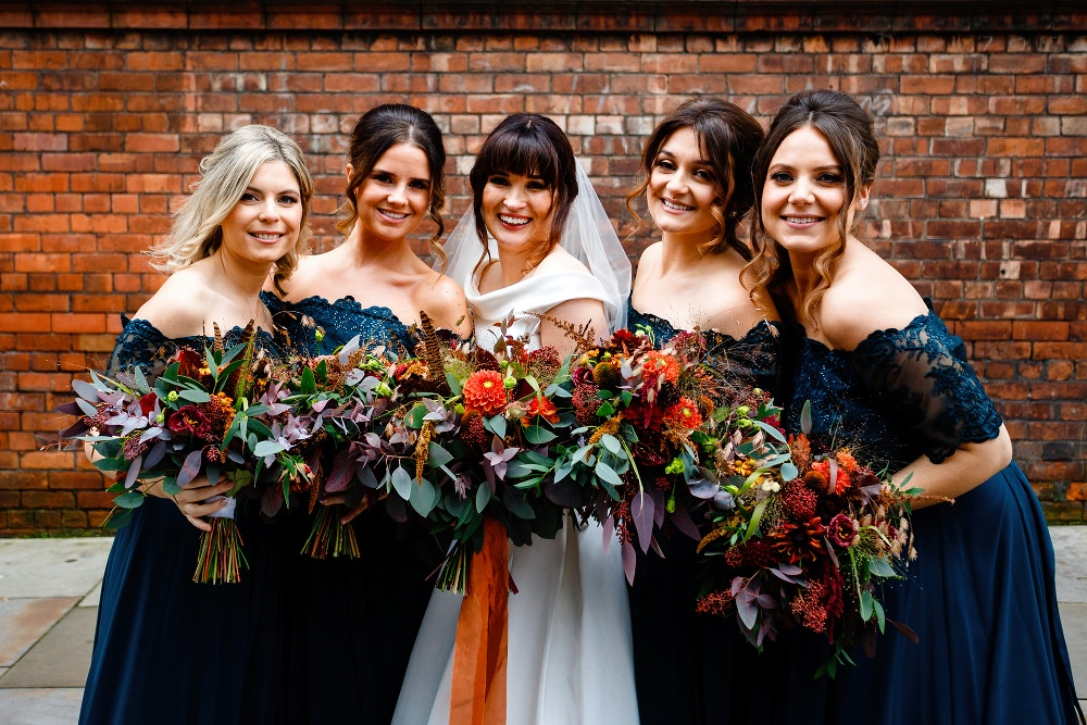 Bridesmaids Bridesmaid Dress Dresses Green Teal Maxi Orange Bouquets Great John Street Hotel Wedding About Today Photography