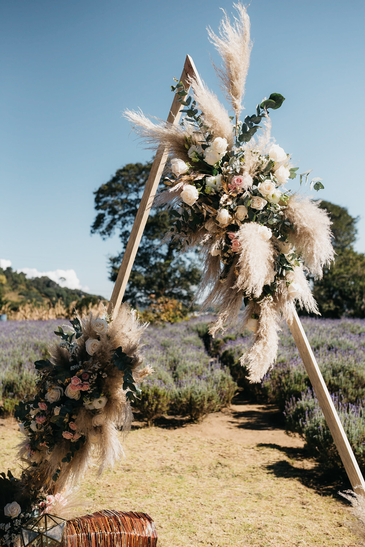 Aisle Ceremony Backdrop Triangle Flowers Pampas Grass Guatemala Wedding Daniel Lopez Perez Photography