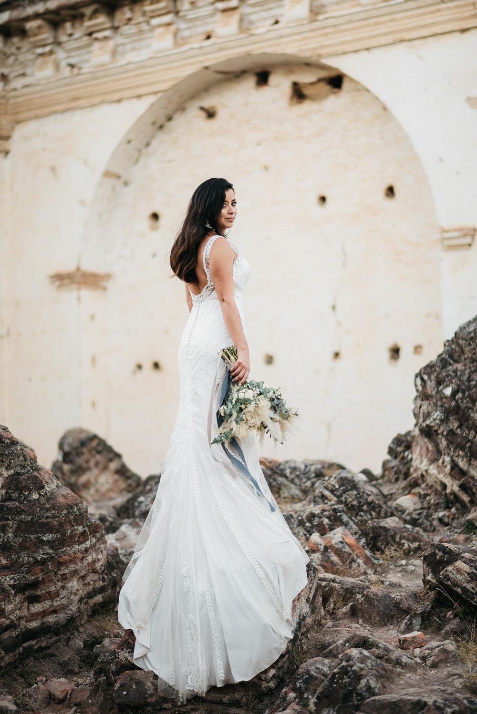 Dress Gown Bride Bridal Lillian West Lace Train Guatemala Wedding Daniel Lopez Perez Photography