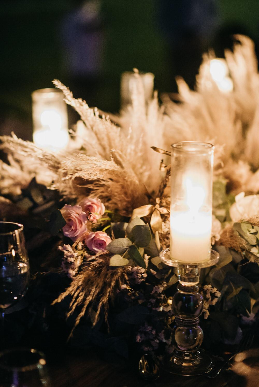 Centrepiece Decor Flowers Pampas Grass Greenery Candles Guatemala Wedding Daniel Lopez Perez Photography