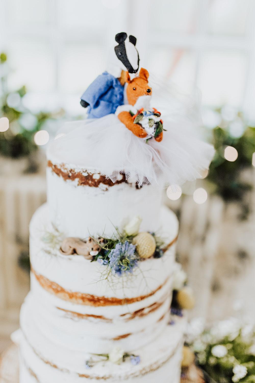 Semi Naked Cake Tall Foliage Greenery Flowers Topper Homemade Wedding Wyldbee Photography