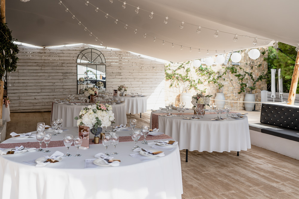 Round Tables Rose Gold Sequin Runners Pink Flowers Ibiza Destination Wedding David Christopher Photography