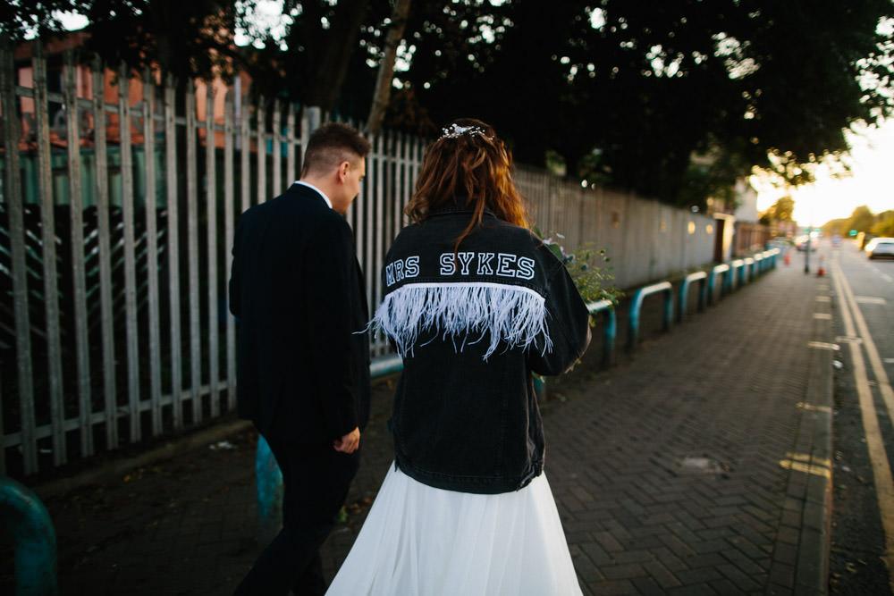 Bride Bridal Leather Jacket Indie Warehouse Wedding Dan Hough Photo