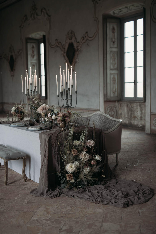 Table Candle Sticks Flowers Meadow Flowers Silk Opulent Tablescape Italy Elopement Ideas Gradisca Portento Fotografica