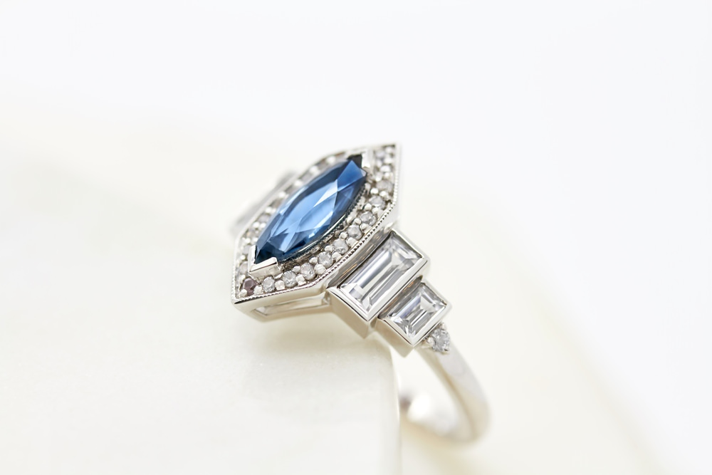 Colours of Sapphires Engagement Ring Wedding Band Marquise Blue