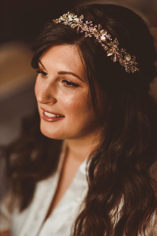 Bride Bridal Make Up Hair Accessory Crown Old Greens Barn Wedding Matt Penberthy Photography
