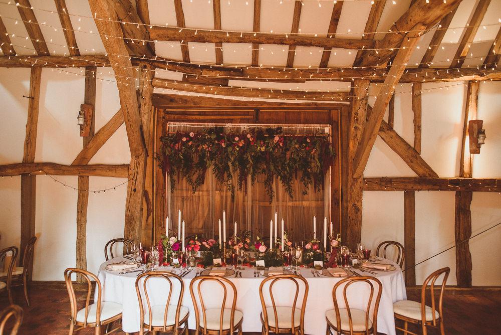 Top Table Flower Backdrop Autumn Old Greens Barn Wedding Matt Penberthy Photography