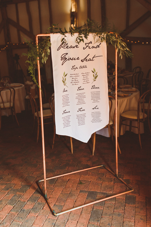 Table Plan Seating Chart Banner Frame Old Greens Barn Wedding Matt Penberthy Photography