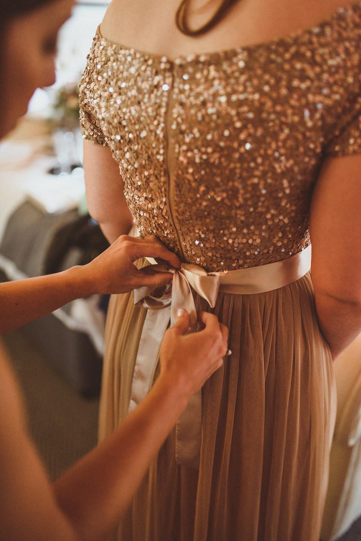 Bridesmaids Bridesmaid Dress Dresses Gold Sequin Old Greens Barn Wedding Matt Penberthy Photography