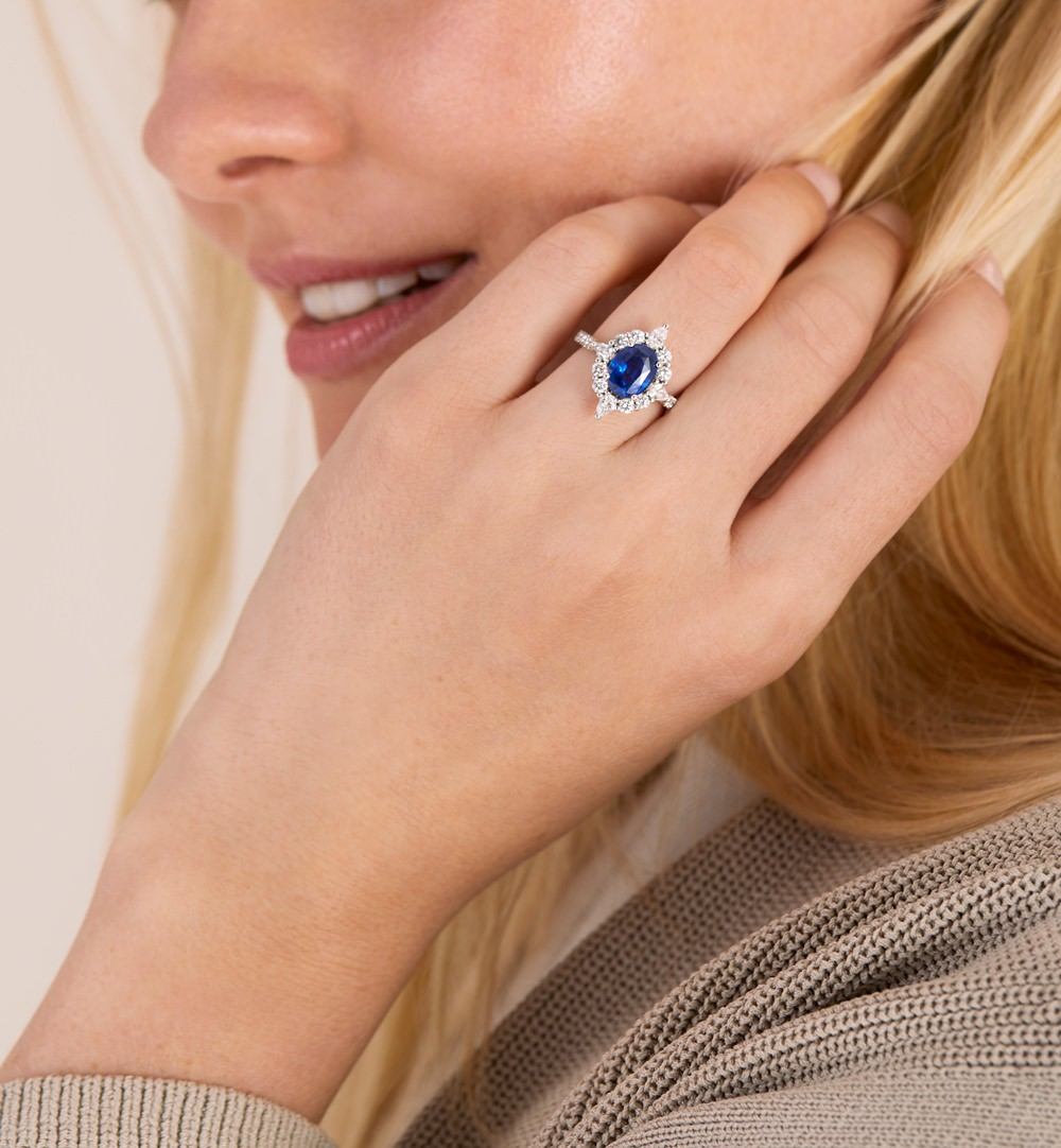 Colours of Sapphires Engagement Ring Wedding Band