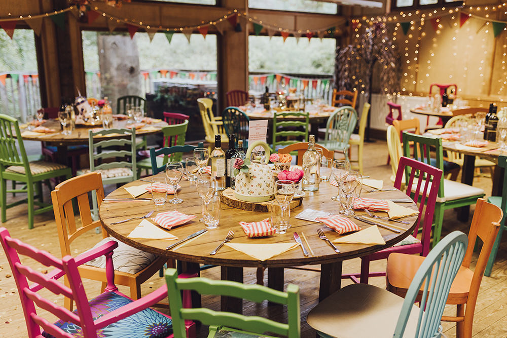 Table Decor Round Tables Colourful Chairs Treehouse Wedding Honeydew Moments