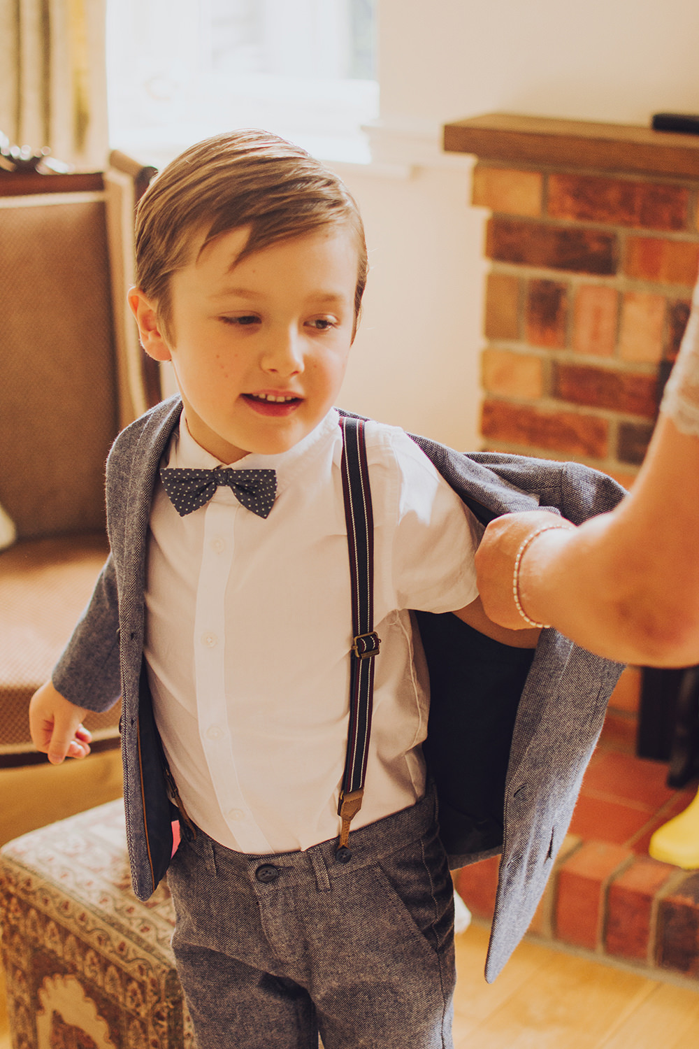 Page Boy Bow Tie Braces Treehouse Wedding Honeydew Moments