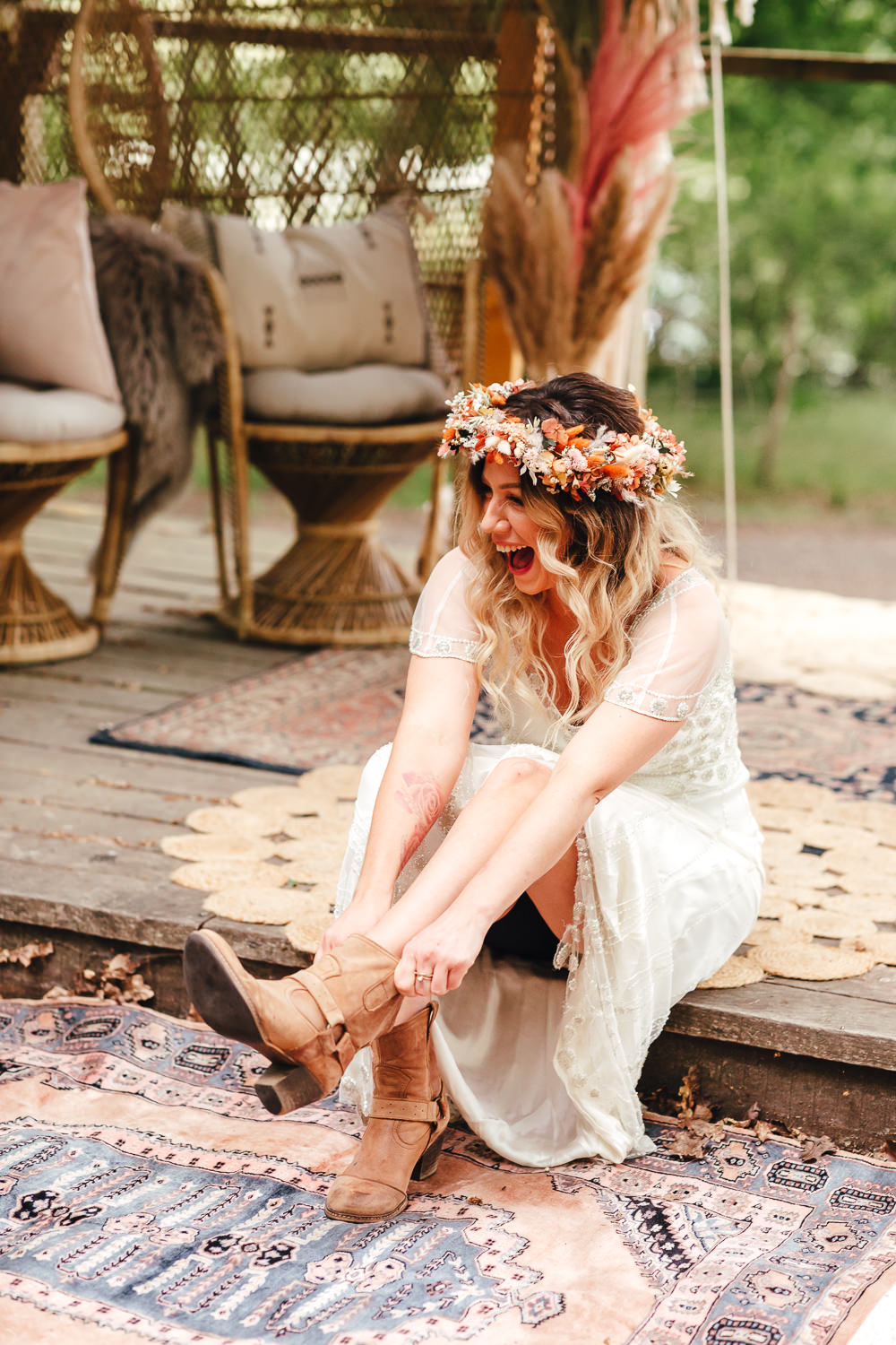 Bride Bridal Boots Bohemian Elopement Kirsty Mackenzie Photography