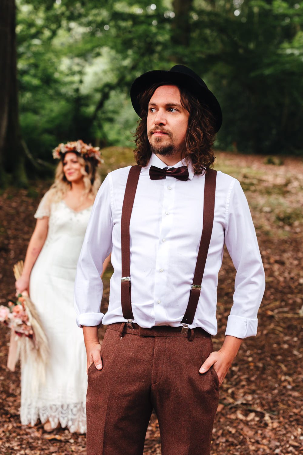 Groom Bow Tie Braces Hat Bohemian Elopement Kirsty Mackenzie Photography