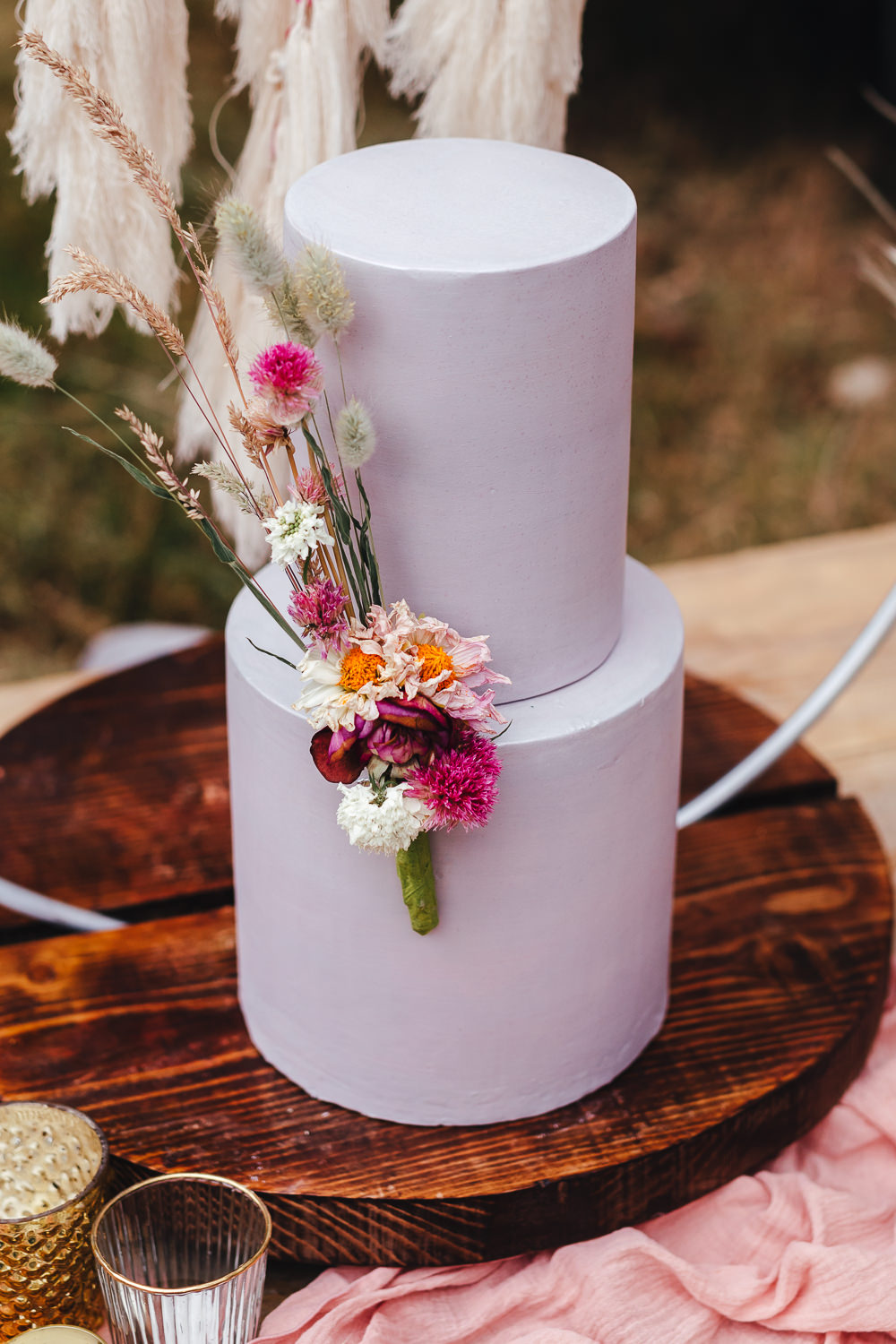 Lilac Lavender Cake Grass Hoop Decor Bohemian Elopement Kirsty Mackenzie Photography