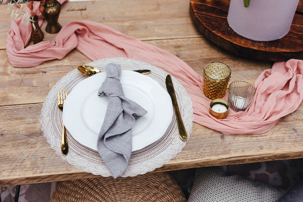 Place Setting Decor Napkin Bohemian Elopement Kirsty Mackenzie Photography