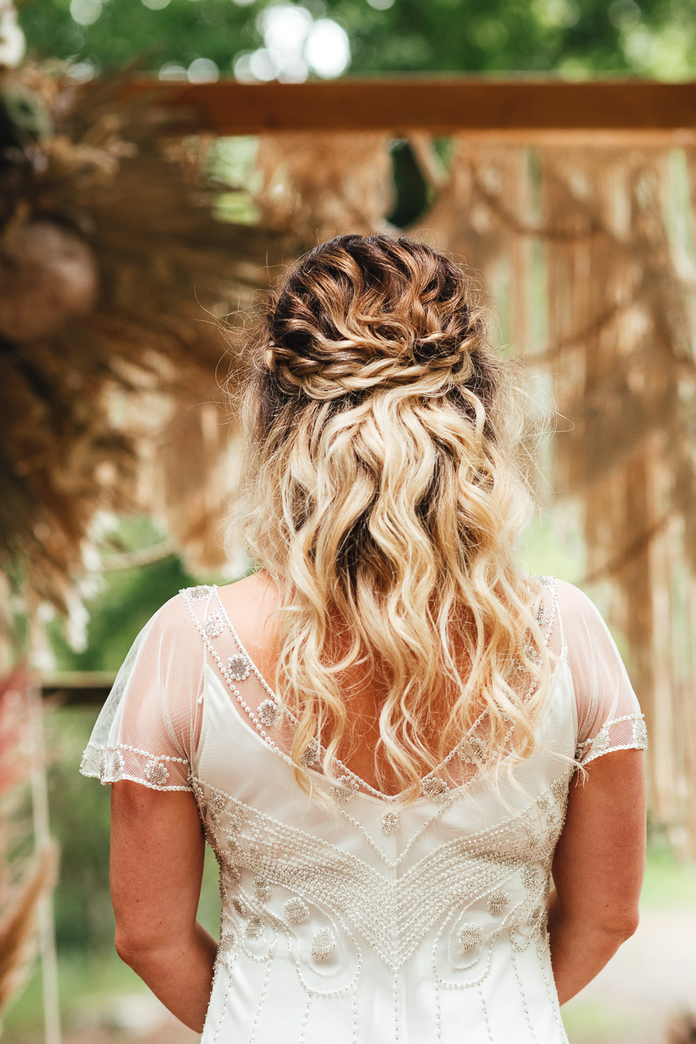 Bride Bridal Hair Style Up Do Plait Braid Bohemian Elopement Kirsty Mackenzie Photography