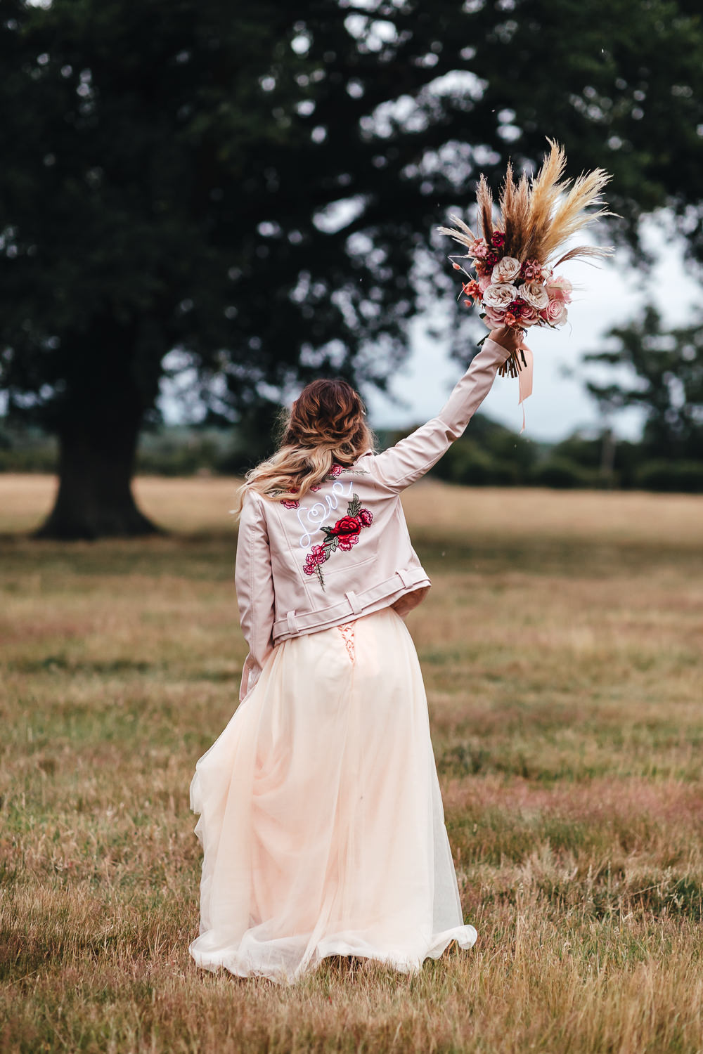 Leather Jacket Bride Bridal Painted Bohemian Elopement Kirsty Mackenzie Photography