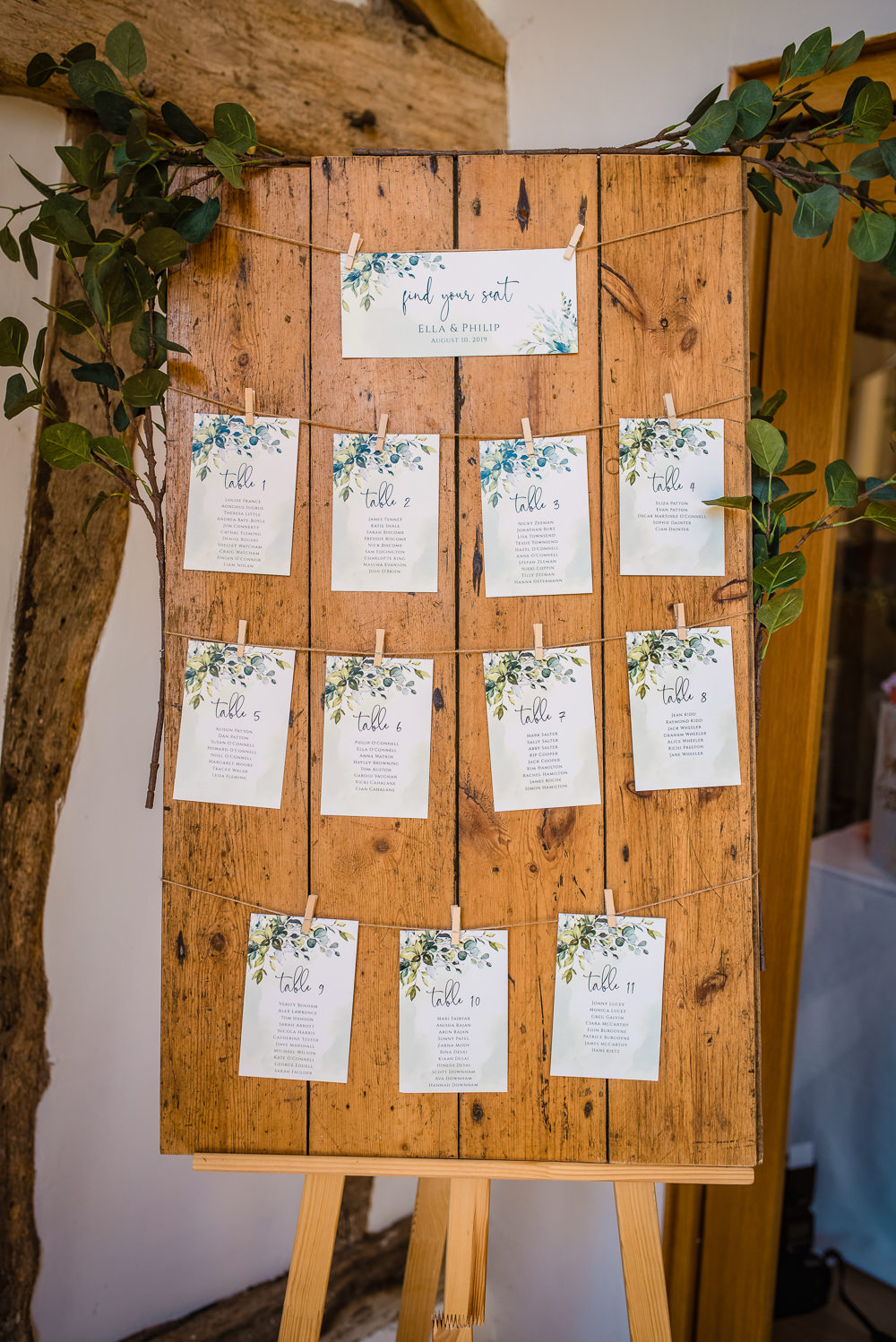Table Plan Seating Chart Wooden Colville Hall Wedding GK Photography