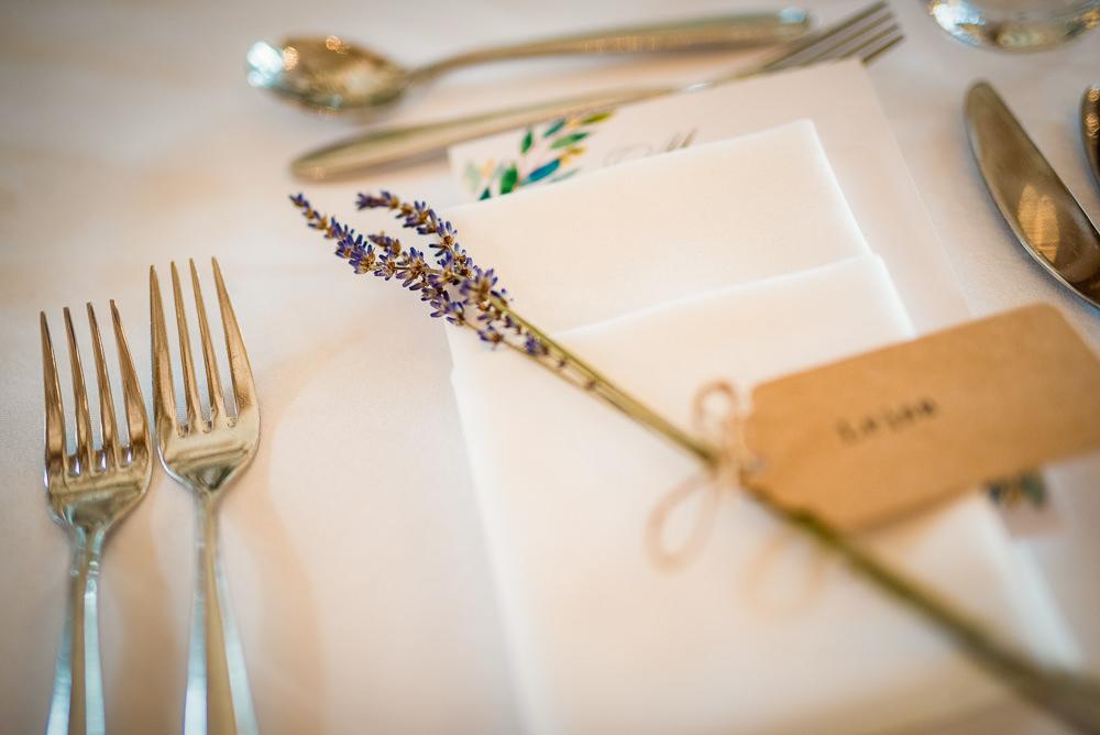 Lavender Place Setting Decor Colville Hall Wedding GK Photography