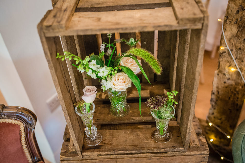 Wooden Crate Decor Flowers Colville Hall Wedding GK Photography
