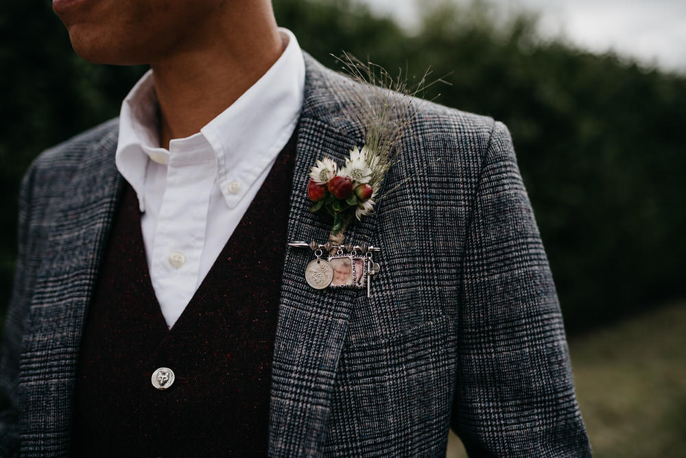 Suit Buttonhole Open Collar Waistcoat Cotswold Woodland Glamping Wedding Elaine Williams Photography