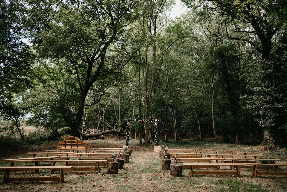 Ceremony Outdoor Flower Arch Aisle Cotswold Woodland Glamping Wedding Elaine Williams Photography