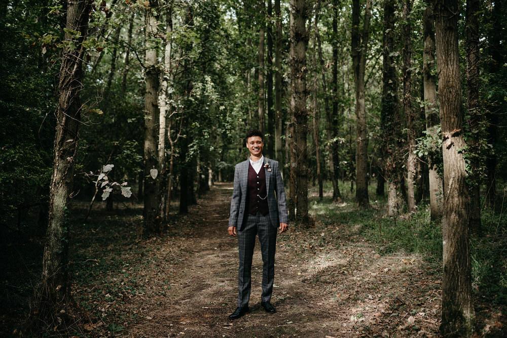 Suit Grey Check Waistcoat Cotswold Woodland Glamping Wedding Elaine Williams Photography