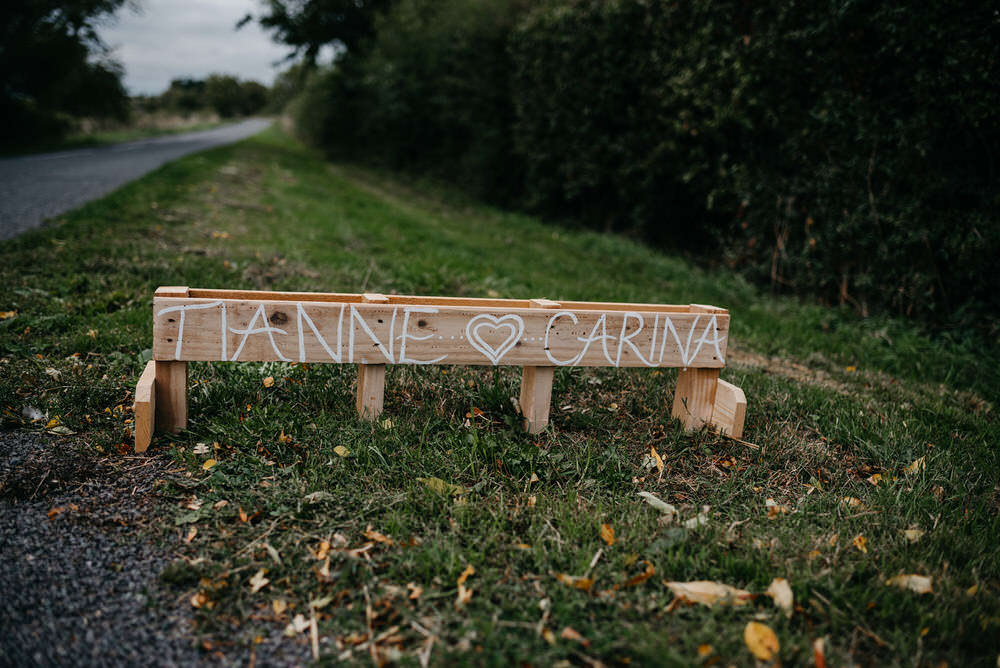 Wooden Sign Signs Signage Cotswold Woodland Glamping Wedding Elaine Williams Photography