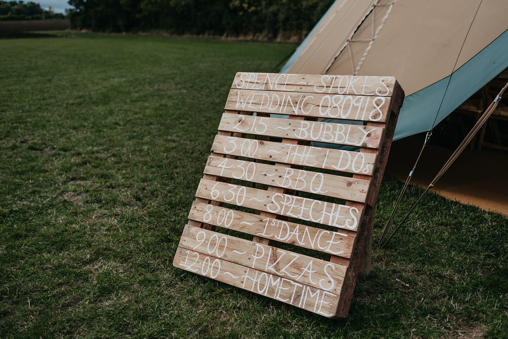 Wooden Pallet Sign Signs Signage Cotswold Woodland Glamping Wedding Elaine Williams Photography