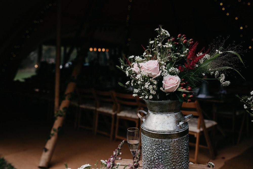 Milk Churn Flowers Cotswold Woodland Glamping Wedding Elaine Williams Photography