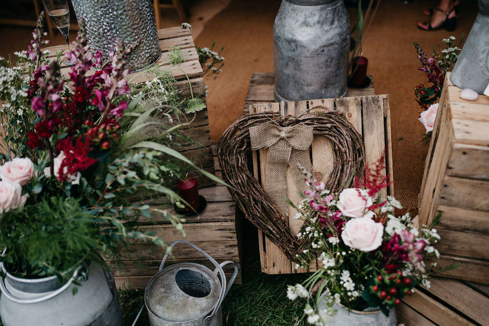Wooden Crate Flowers Decor Cotswold Woodland Glamping Wedding Elaine Williams Photography