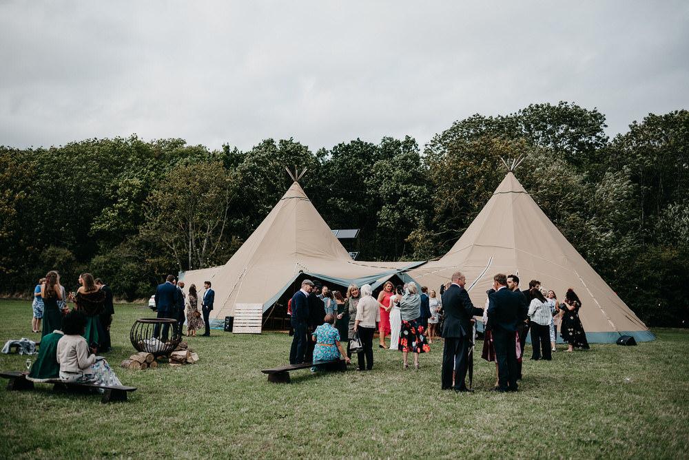 Tipi Reception Cotswold Woodland Glamping Wedding Elaine Williams Photography