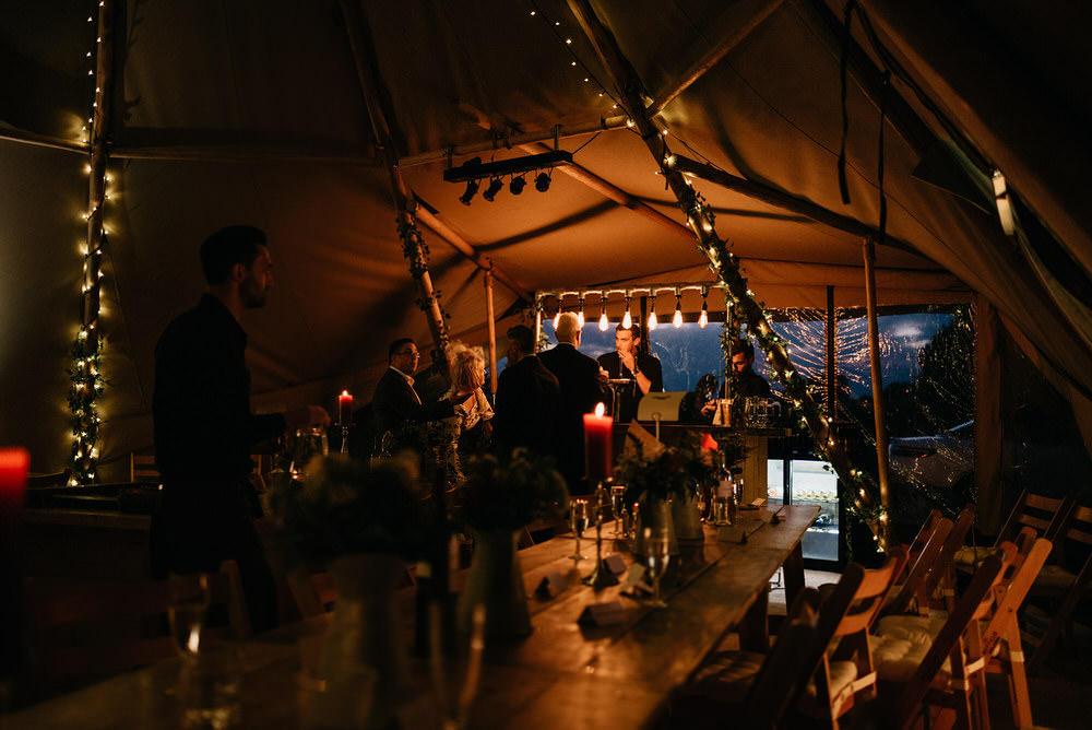 Tipi Reception Lighting Cotswold Woodland Glamping Wedding Elaine Williams Photography