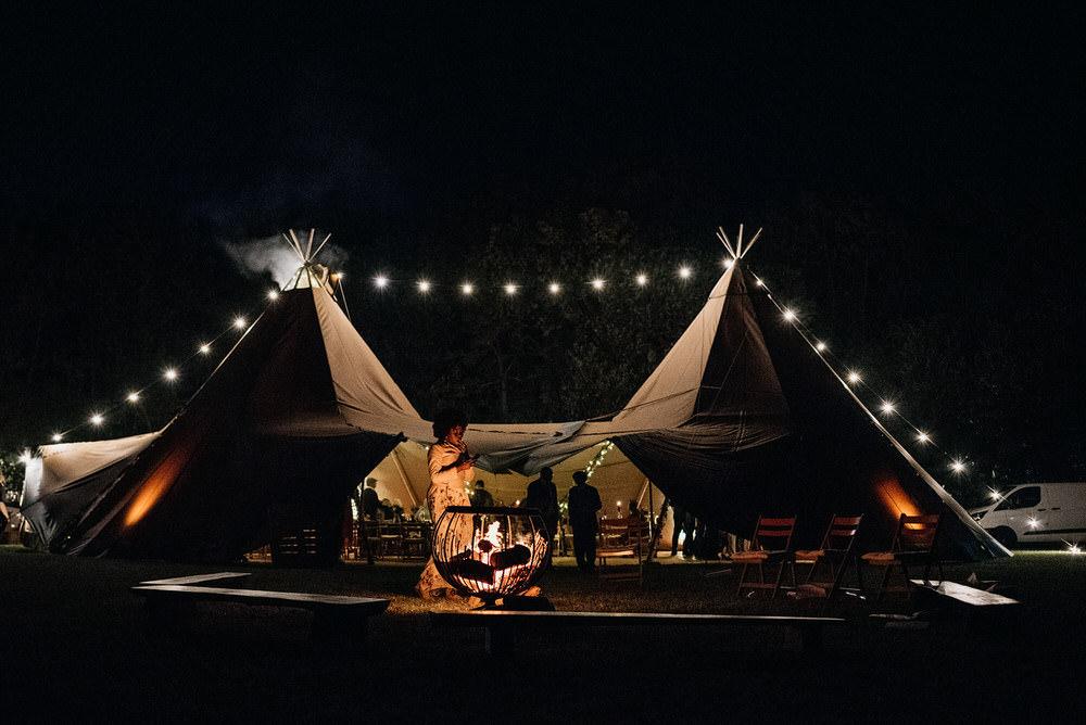 Tipi Reception Lighting Festoon Lights Cotswold Woodland Glamping Wedding Elaine Williams Photography