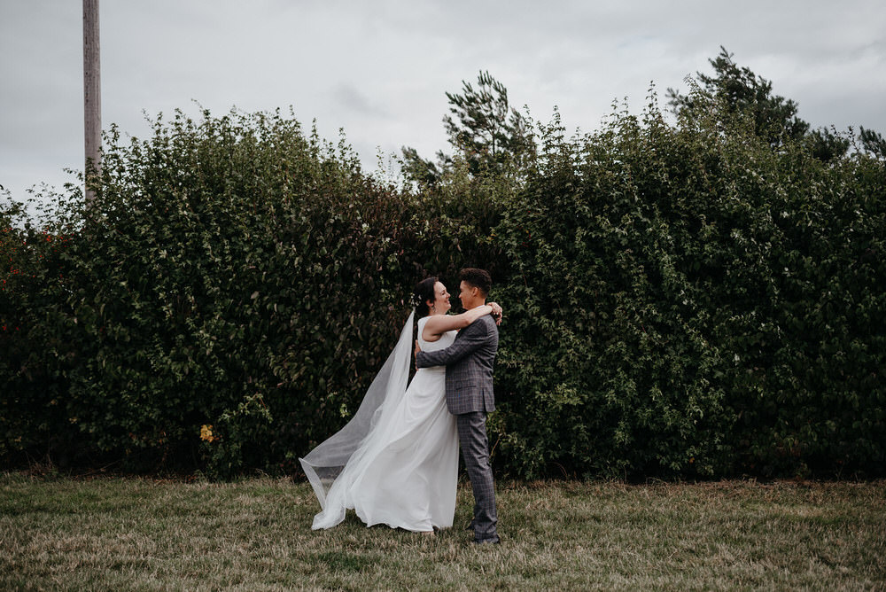 First Look Cotswold Woodland Glamping Wedding Elaine Williams Photography
