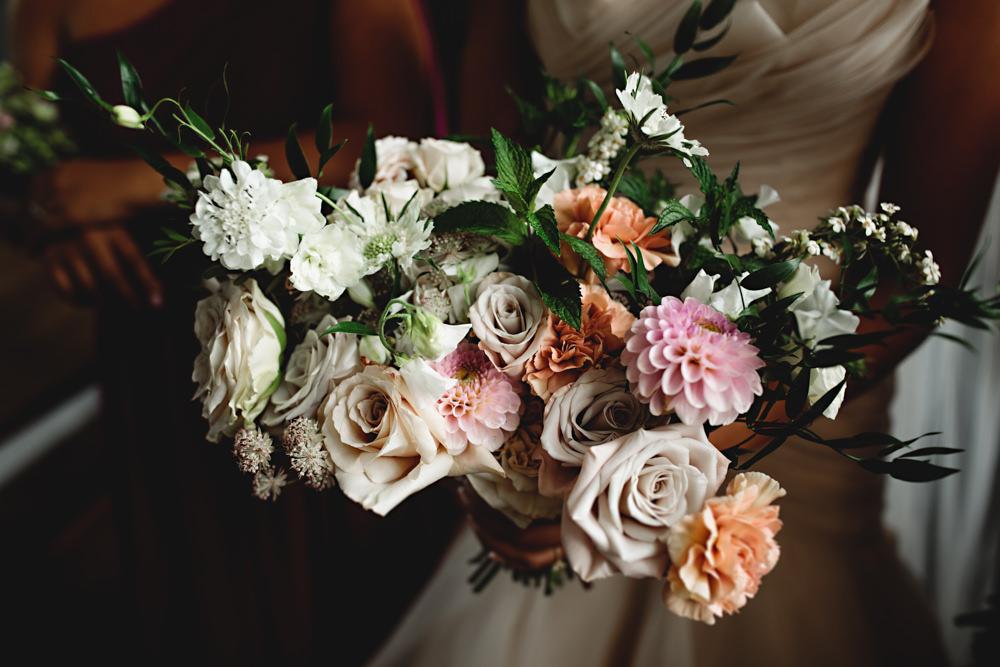 Bouquet Flowers Bride Bridal Pastel Pink Rose Dahlia Astrantia Carnation Sweetpeas Scabious Mint Dunchurch Park Hotel Wedding HBA Photography