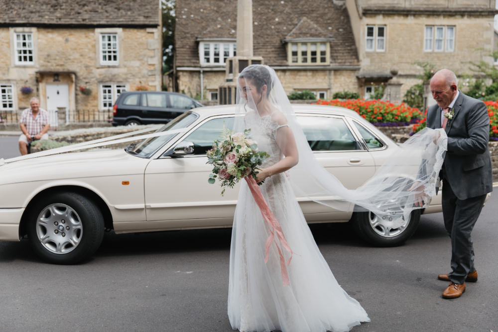 Dress Gown Bride Bridal Lace Tulle Veil Catherine Deane Field Kitchen Wedding Siobhan Amy Photography