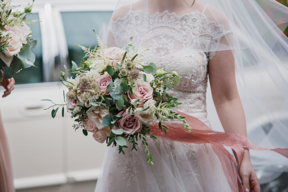 Bouquet Flowers Bride Bridal Pale Pink Rose Eucalyptus Ribbon Field Kitchen Wedding Siobhan Amy Photography