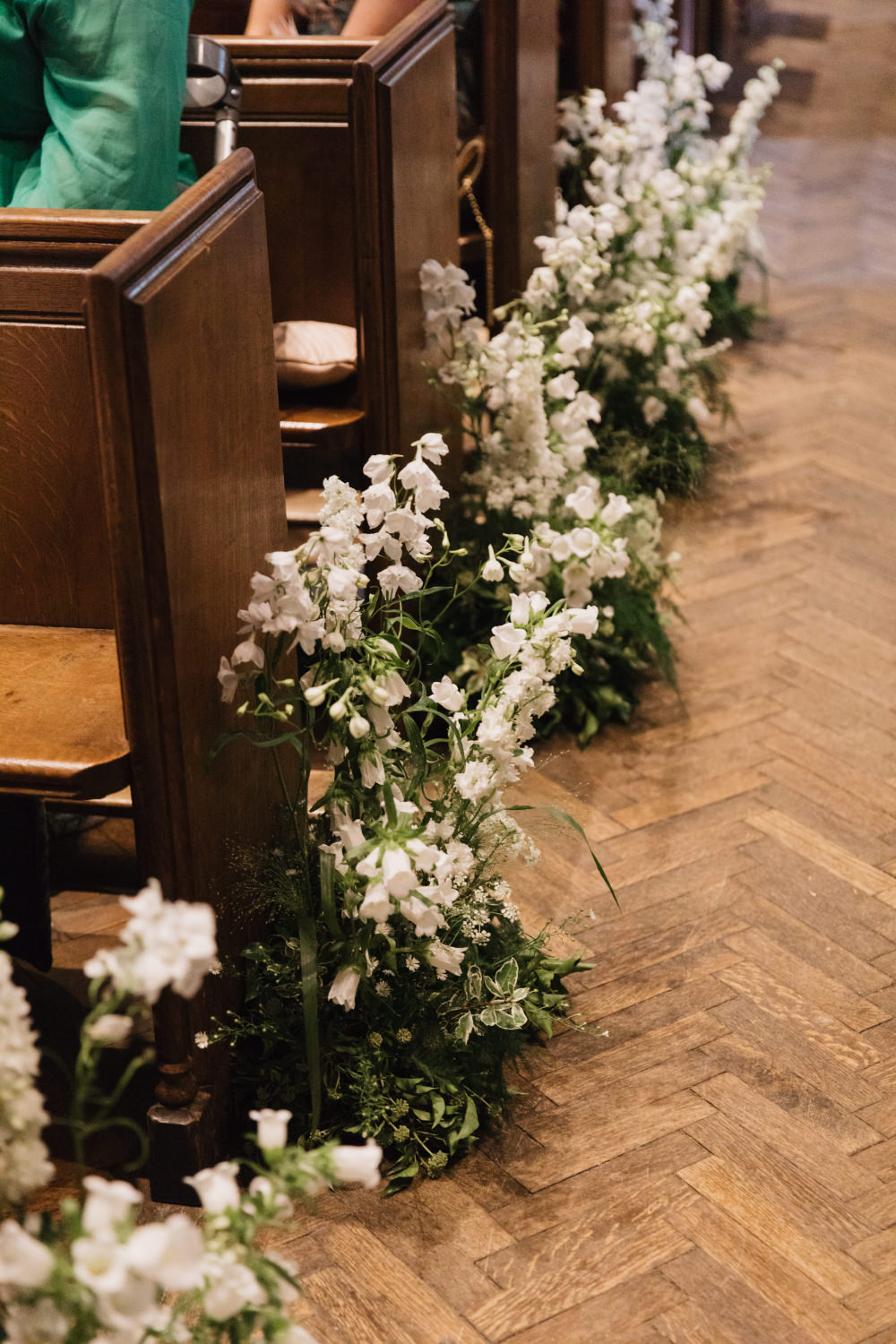 Aisle Pew End Ceremony Flowers Tall Meadow Field Kitchen Wedding Siobhan Amy Photography