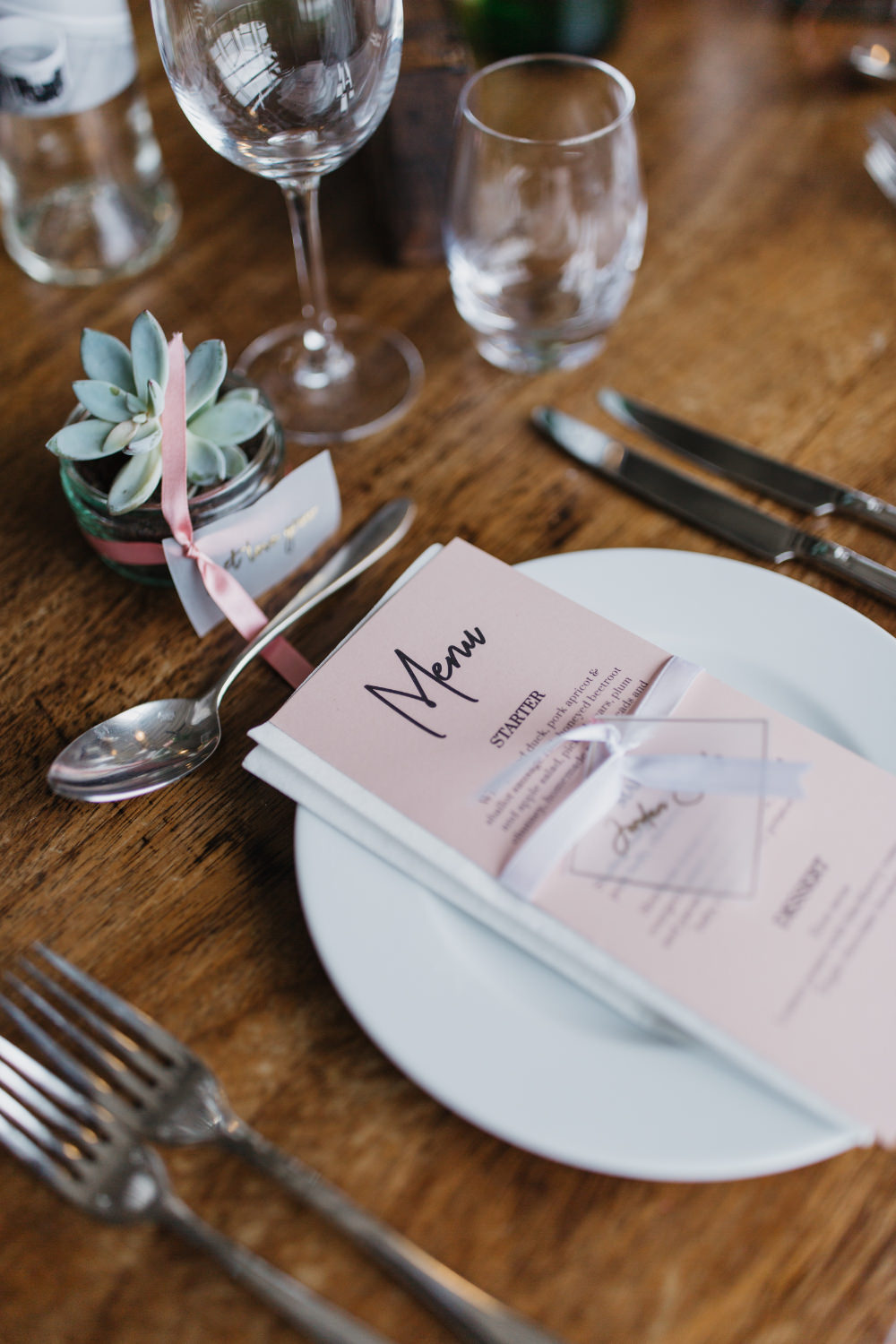 Place Setting Menu Decor Pink Succulent Favour Field Kitchen Wedding Siobhan Amy Photography